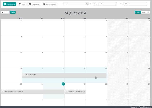 Calendar view in Month mode
